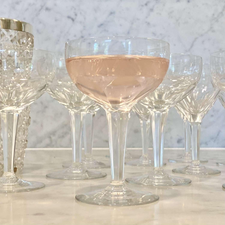 Set Val St Lambert Art Deco champagne coupes & matching wine glasses