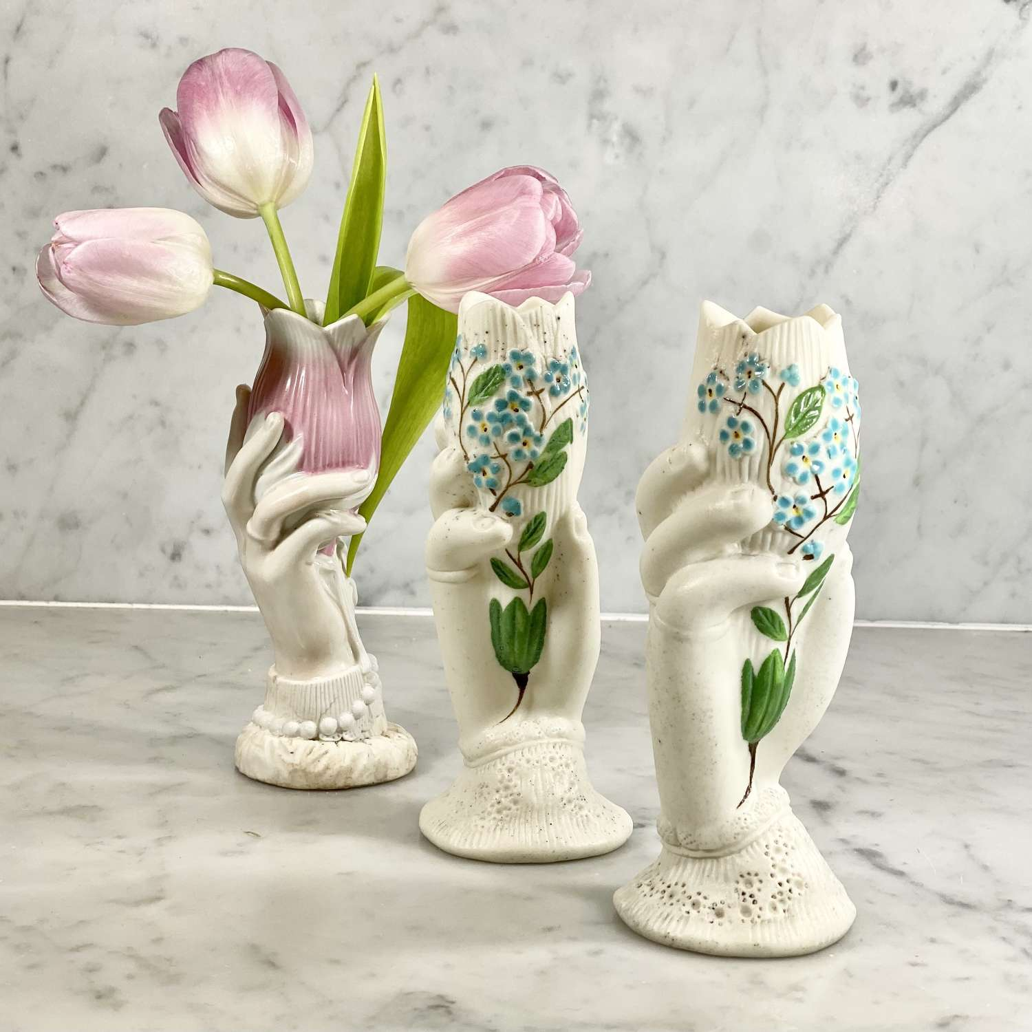 Trio of 19th C French hand holding posy vases
