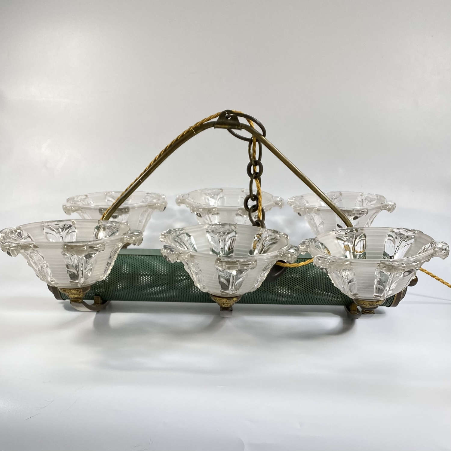 Art Deco French tole, ormolu and glass pendant chandelier