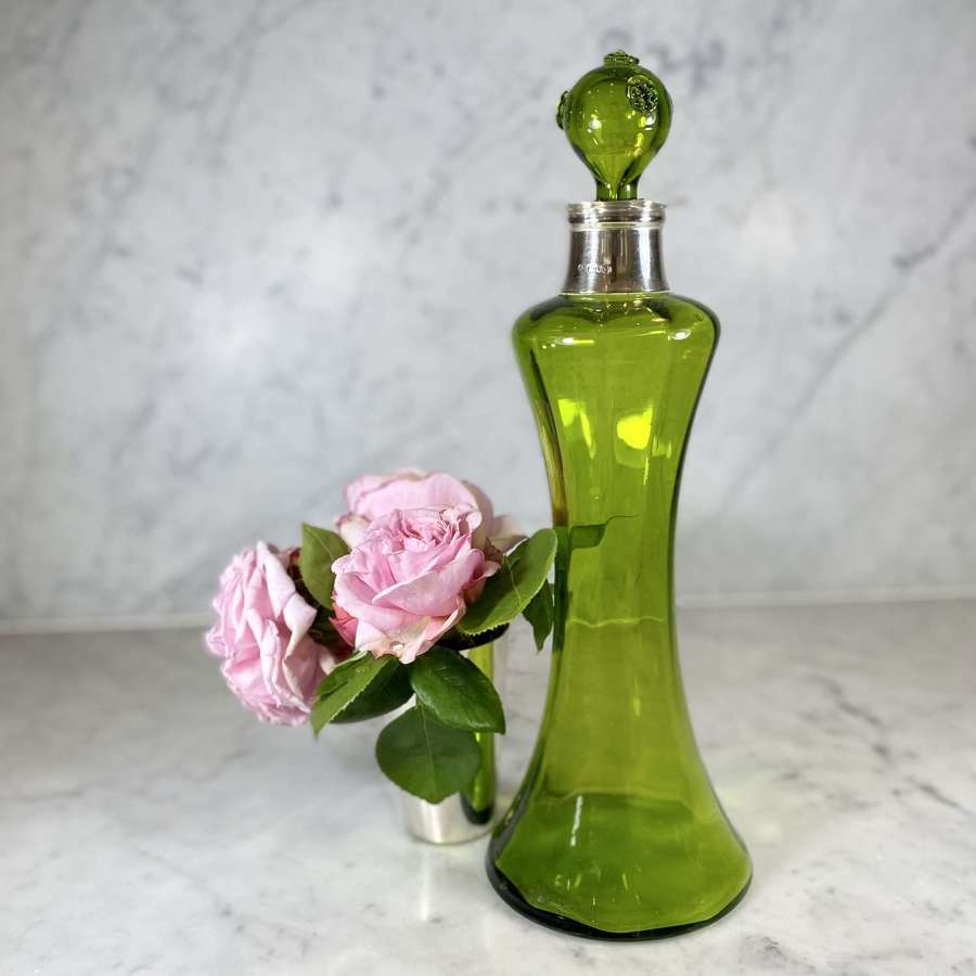 Art Nouveau green glass decanter with silver collar by William Hutton