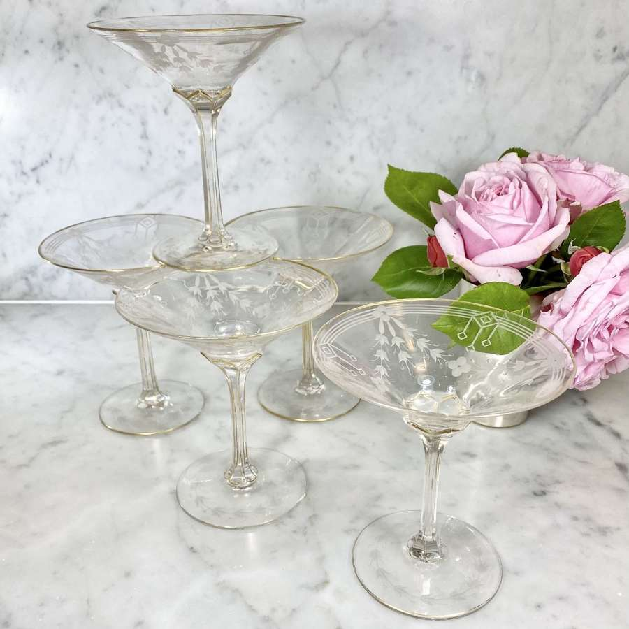 Exceptionally rare Art Nouveau etched champagne or cocktail saucers