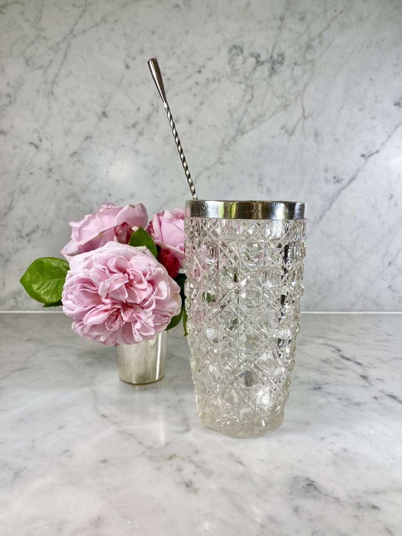 Pretty Victorian silver rim cocktail mixing jug or vase
