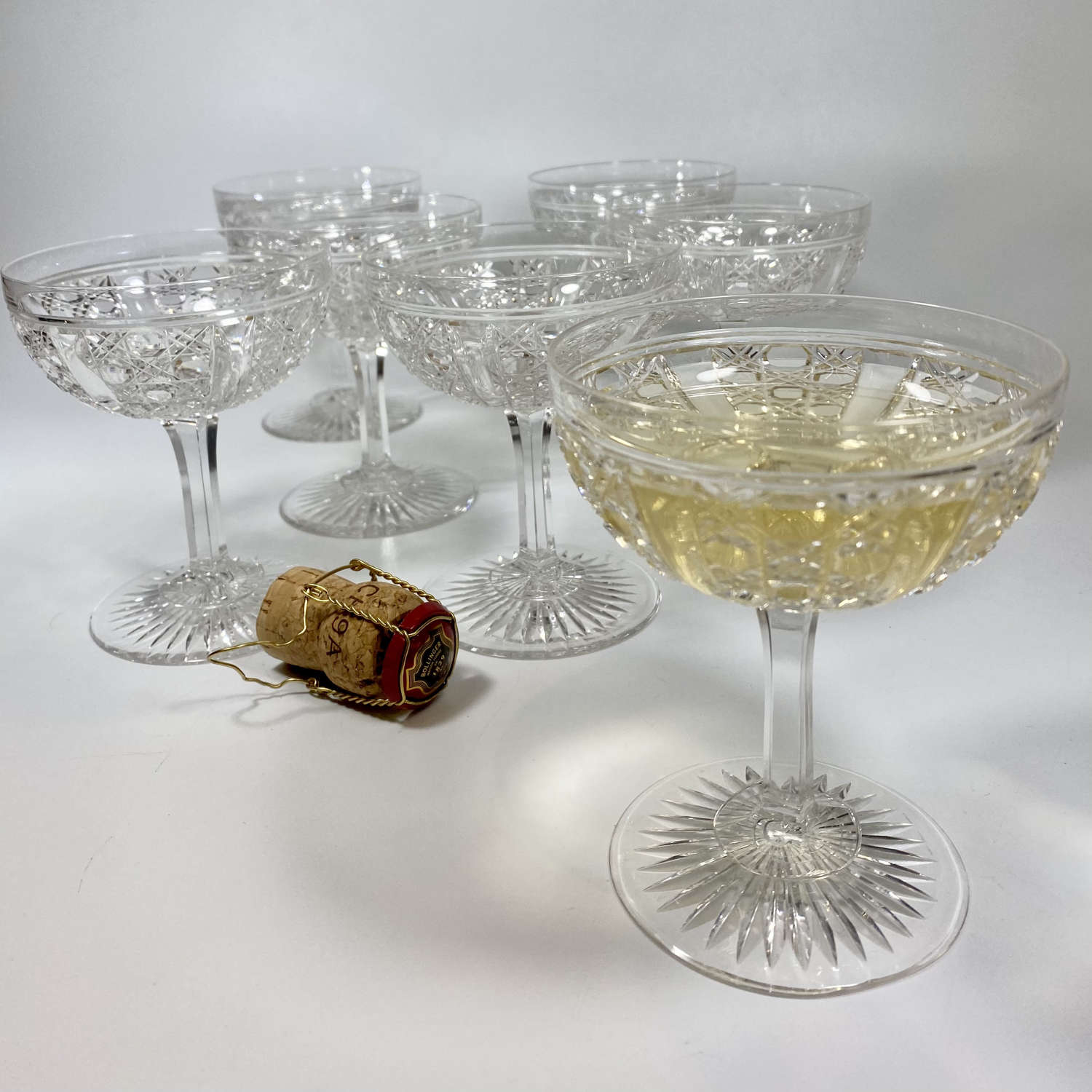 Exquisite Victorian finest crystal champagne or cocktail coupes