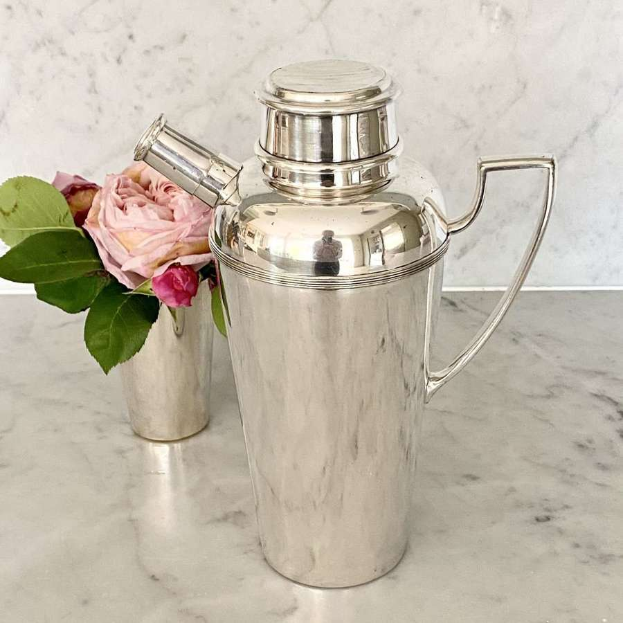 Asprey Art Deco silver plated spout and handle cocktail shaker