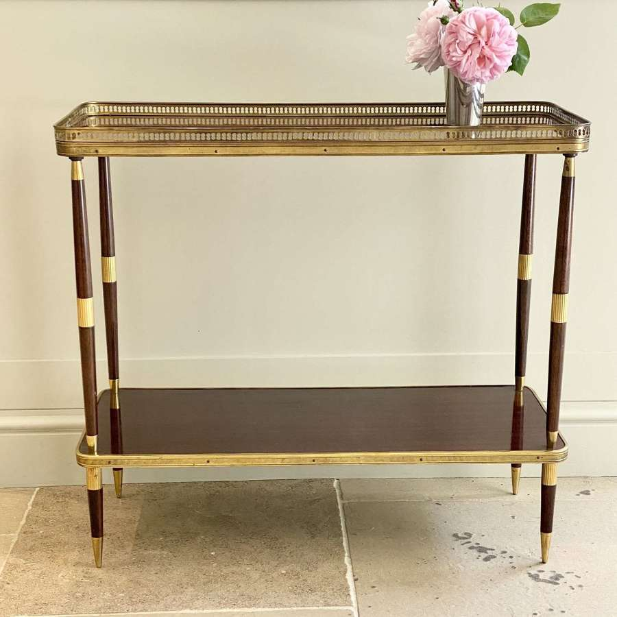 Mid Century 2-tier brass and rosewood side table