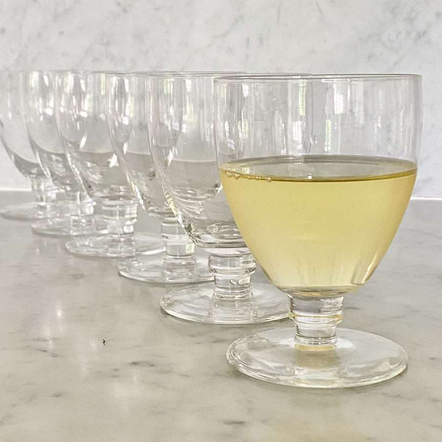 Six smart Val Saint Lambert Art Deco wine goblets