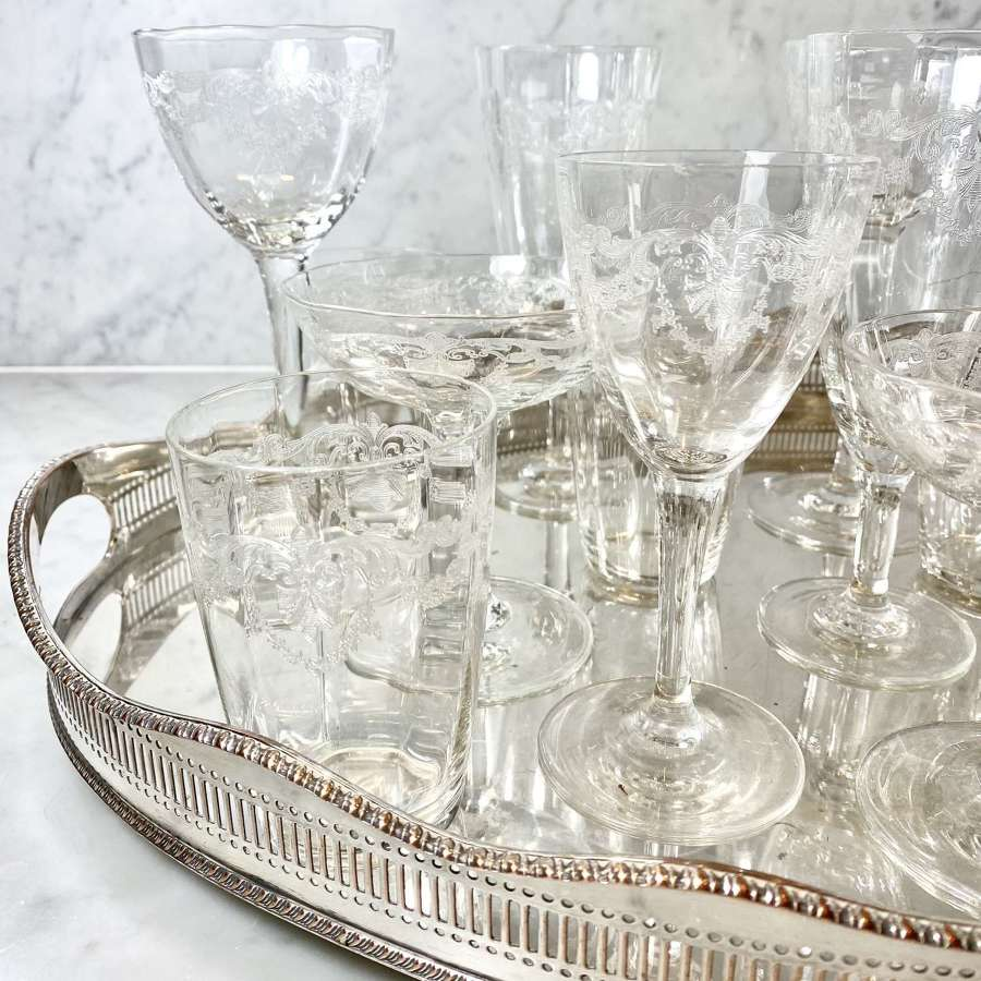 Rare Victorian Baccarat etched mixed glassware set