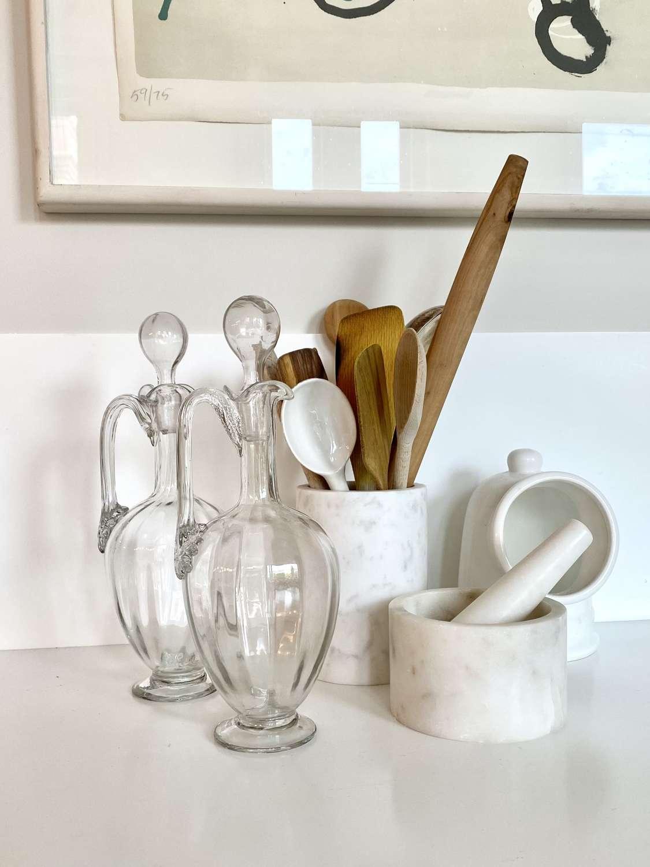 Pair of Venetian blown glass claret jugs
