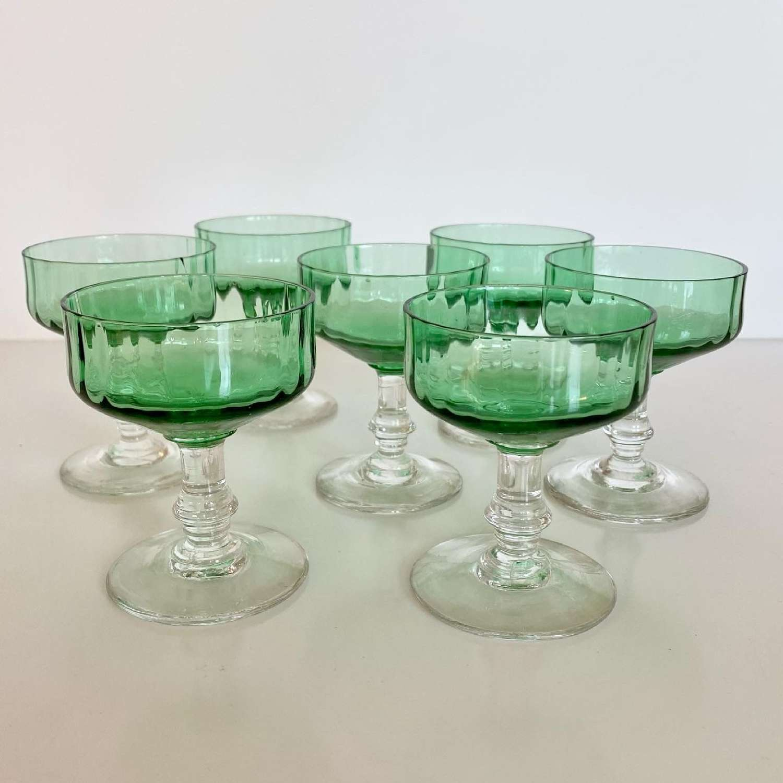 19th C Baccarat green crystal dessert wine glasses