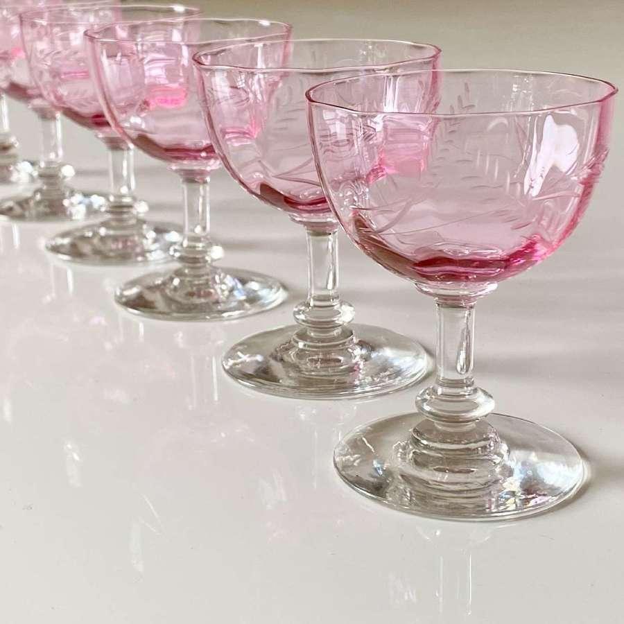 Six pink Baccarat crystal dessert wine glasses