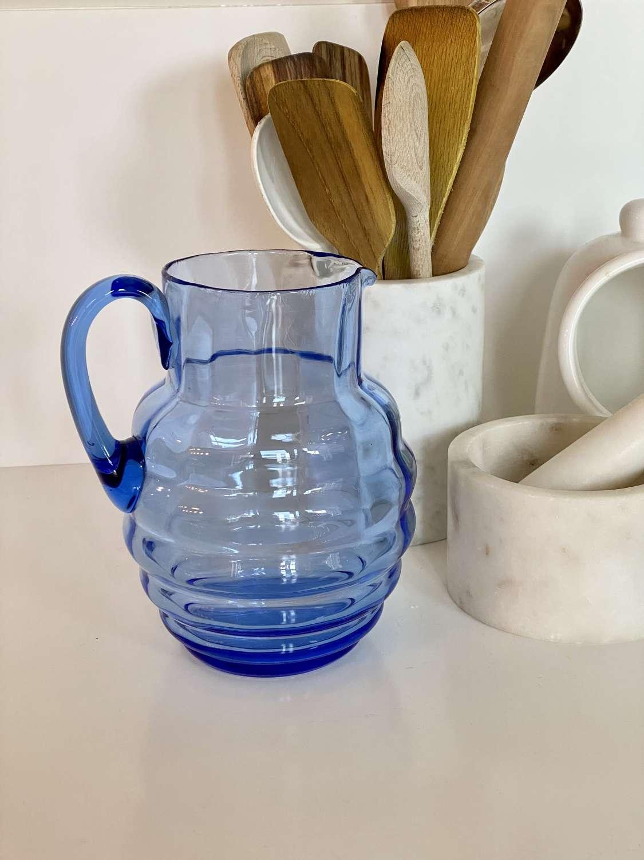 English Art Deco blue ribbed glass jug