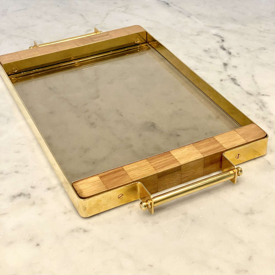 1970s smoked glass and gold plated tray by Harrods