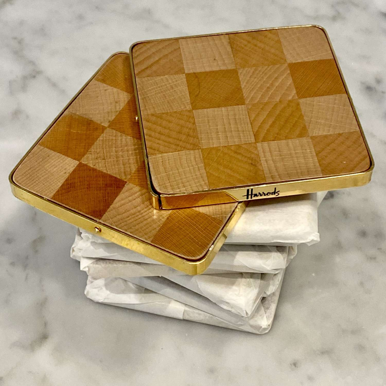 1970s wooden and gold glass coaster set by Harrods