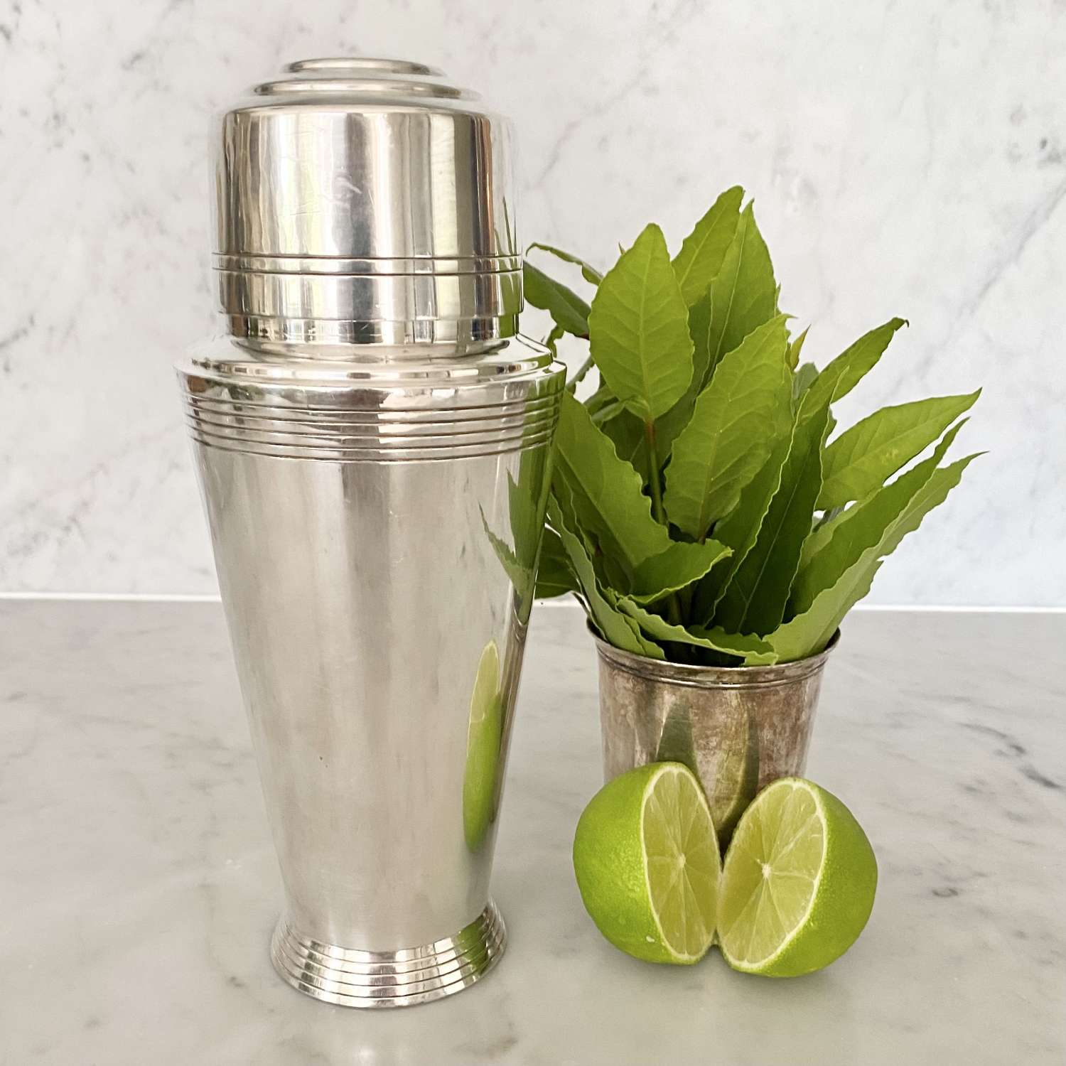 Keith Murray for Mappin & Webb Art Deco silver plated cocktail shaker