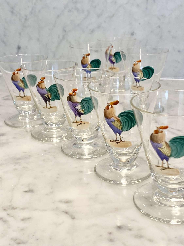 8 Art Deco hand enamelled cockerel cocktail glasses 1930s