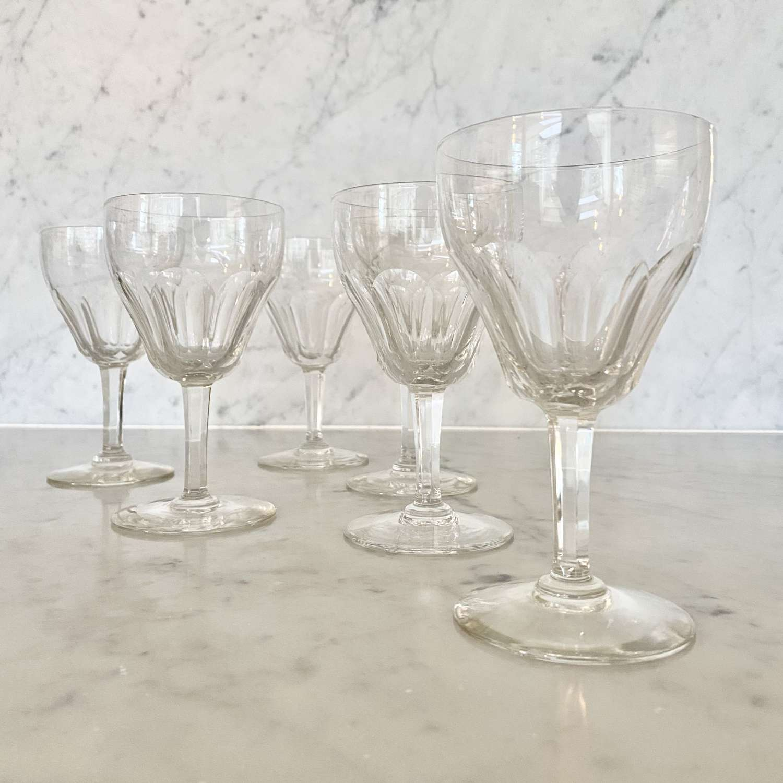 Six large Val Saint Lambert crystal wine goblets