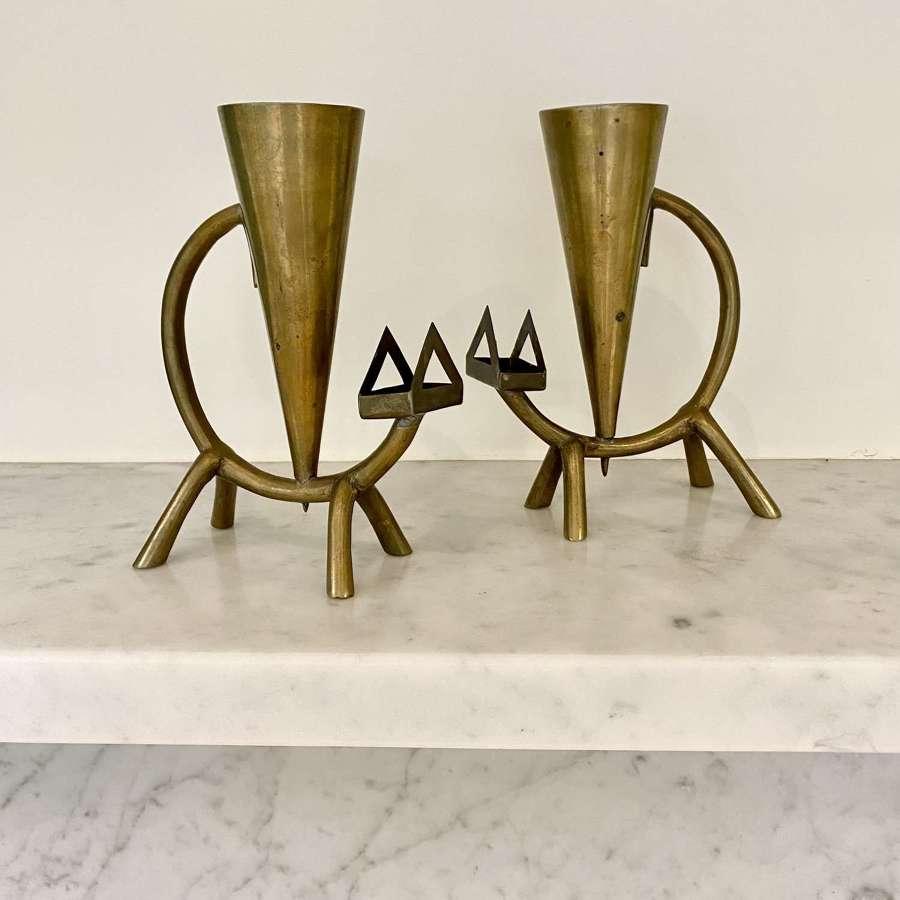 Pair of Art Deco Cat brass candlesticks and match holders