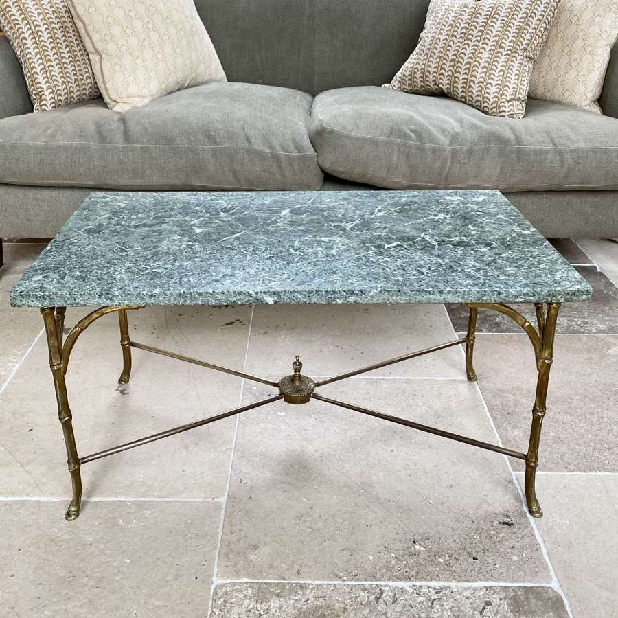 Maison Bagues brass bamboo & marble coffee table