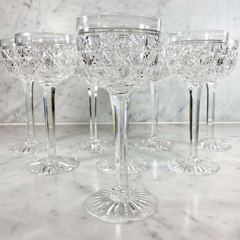 19th Century English crystal tall wine glasses