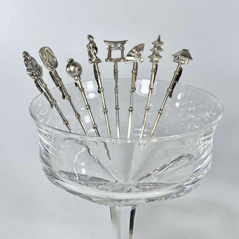 Vintage Japanese icon silver cocktail sticks
