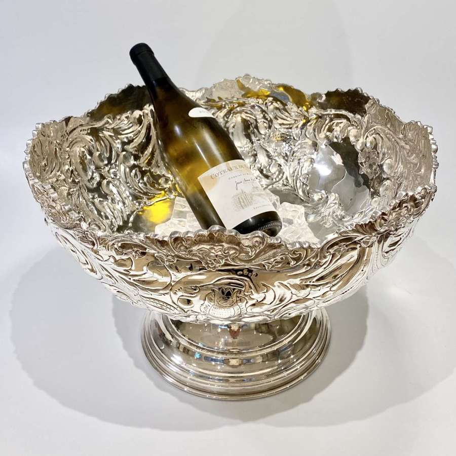 GIANT silver plated champagne wine cooler bowl