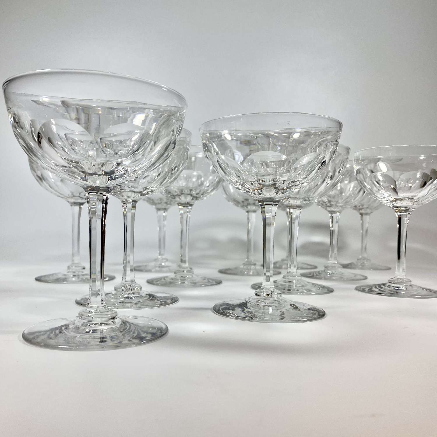A dozen Victorian crystal champagne coupes