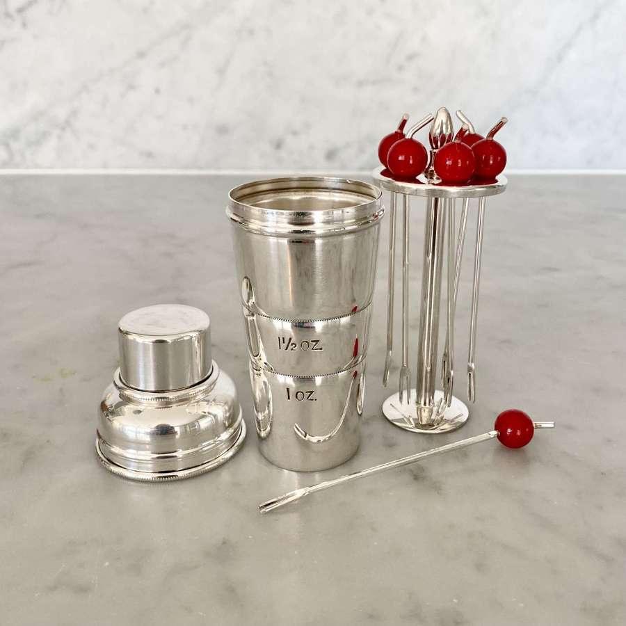 Art Deco Mini 'Cocktail Shaker' spirit measure & cocktail sticks.