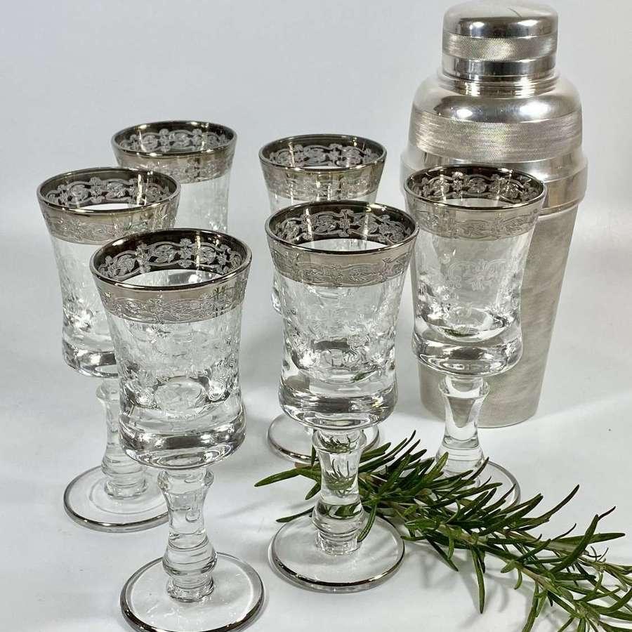Six Mid 20th Century silver rim Aperitif glasses