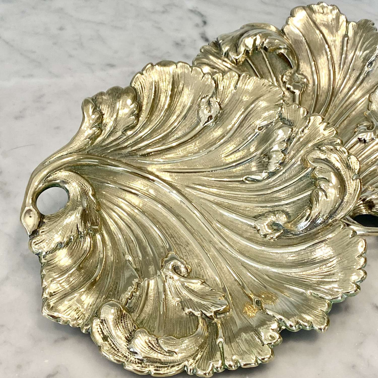 Pair Victorian brass Acanthus leaf serving dishes