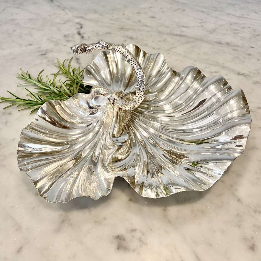 William Hutton silver plated shell & coral H'ors d'Oeuvres dish
