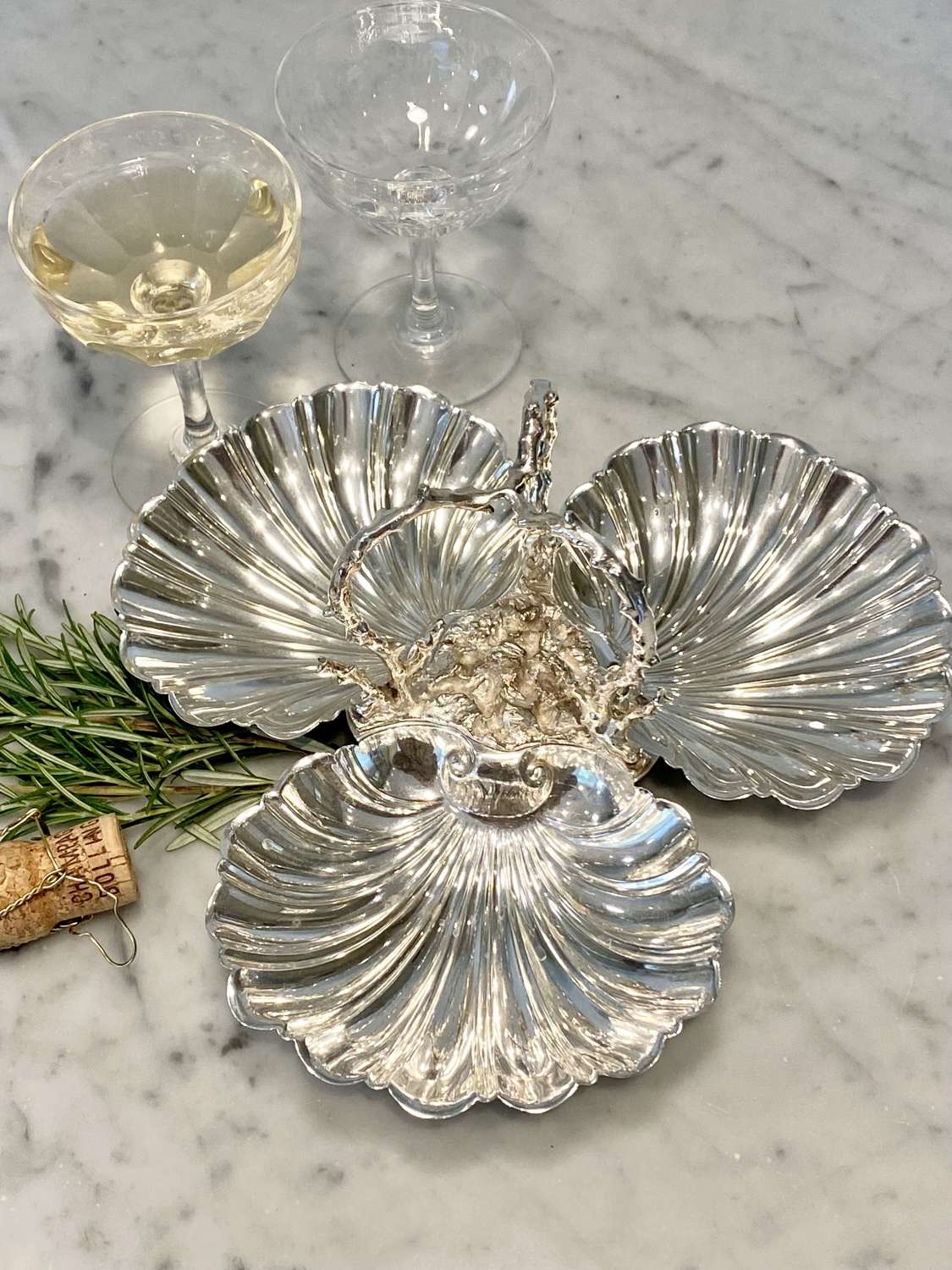 Triple shell silver plated H'ors d'Oeuvres dish with faux coral handle