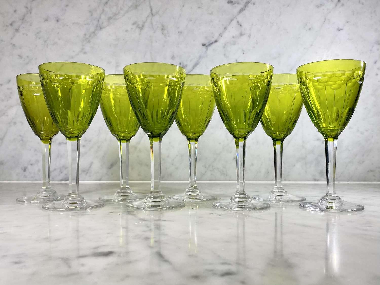8 Val Saint Lambert chartreuse green cut crystal white wine glasses