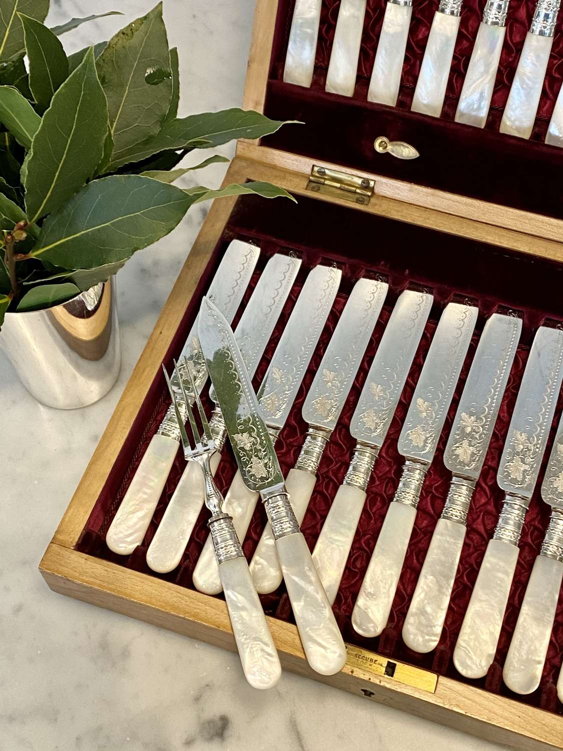 Victorian Mother of Pearl & silver plated cutlery for 12 guest