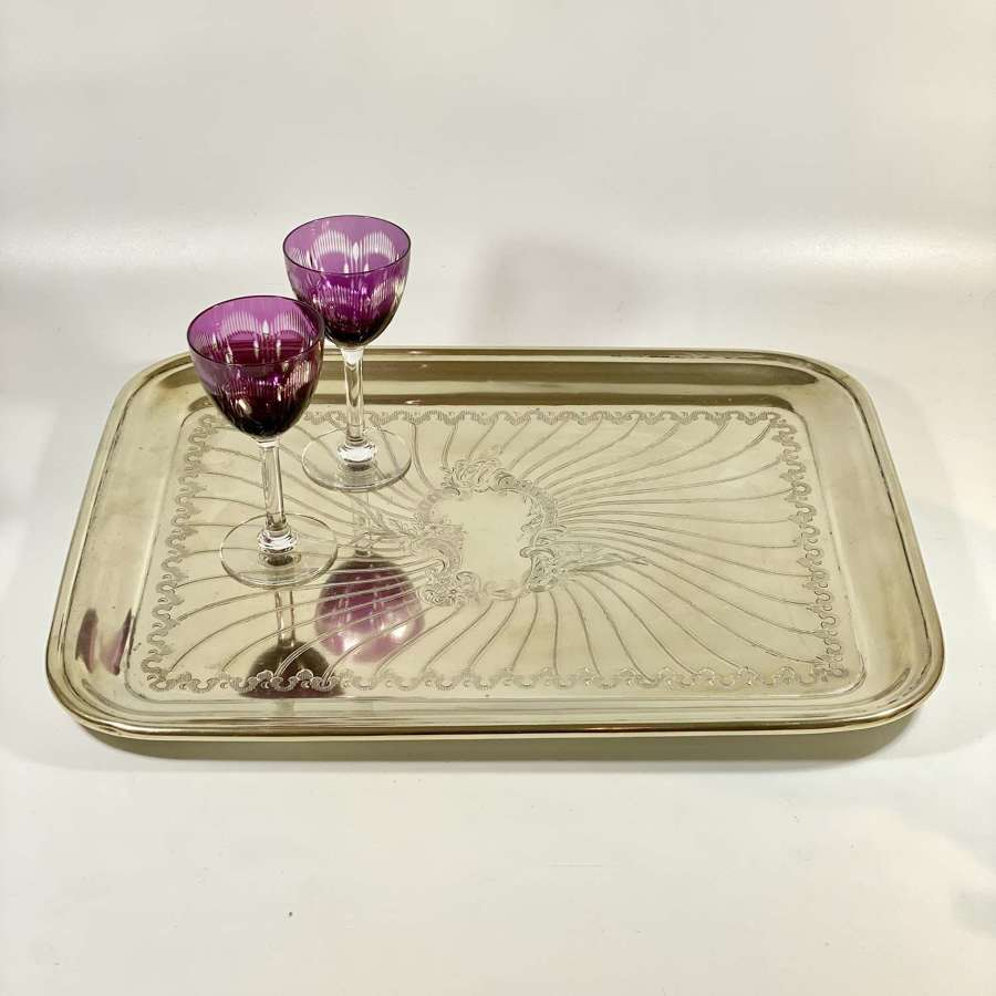 1920s French oblong engraved cocktail tray