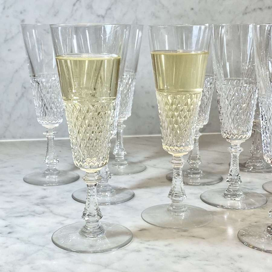 Val Saint Lambert finest crystal champagne flutes