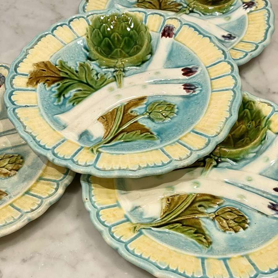 French Majolica Asparagus Artichoke plates