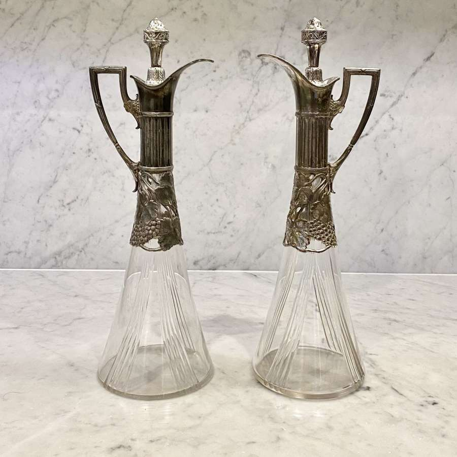 Secessionist Art Nouveau claret jug decanters