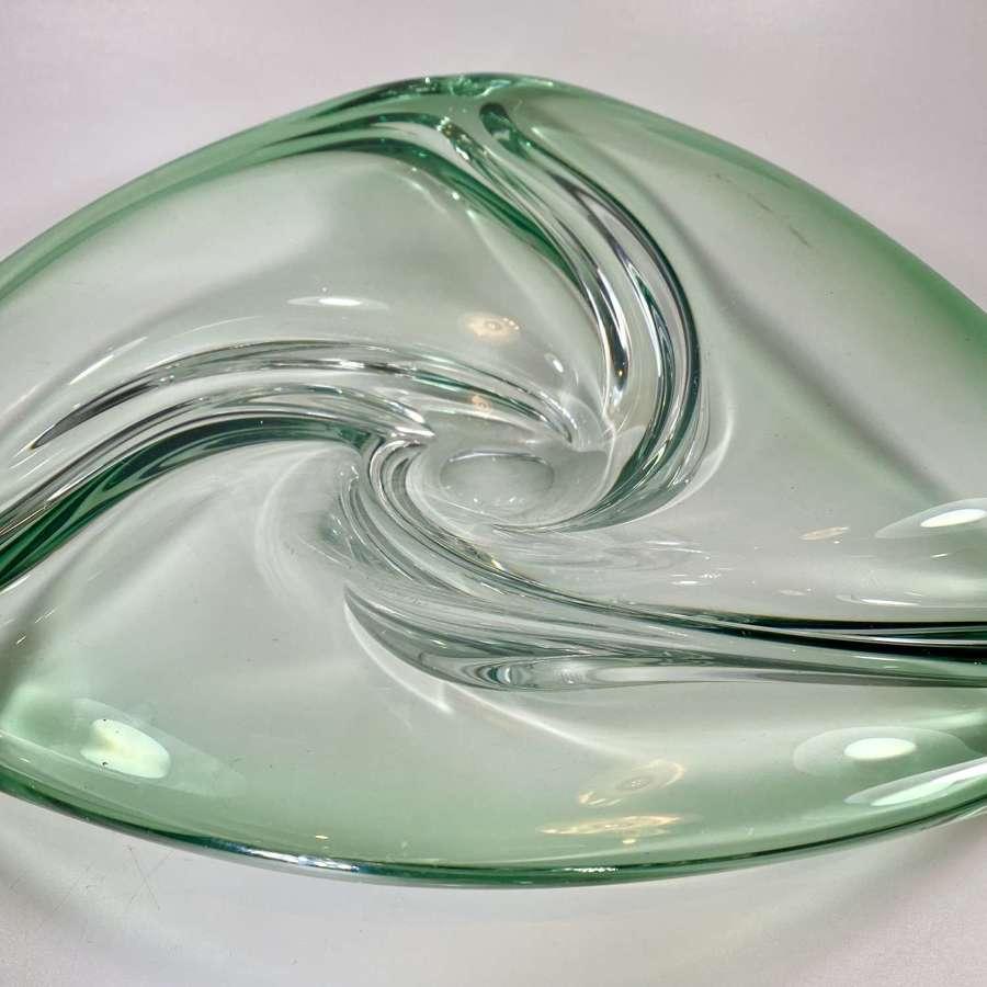 Val Saint Lambert green fade centrepiece bowl